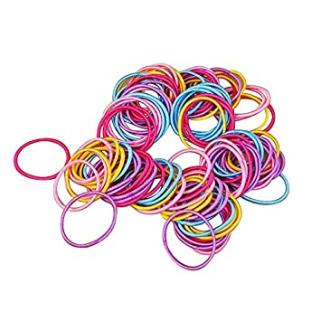 Homgaty 100Pcs Baby Girl Elastic Thin Hair Tie Bands Children Stretchy  Ponytail Hair Bands 422a65f097f