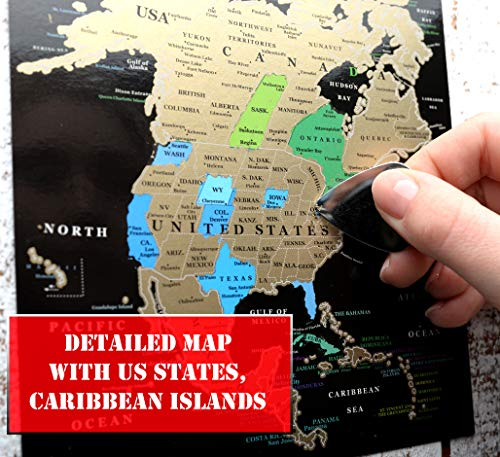 Scratch off map World Scratch card Greeting Cards Detailed 6 Continents wall map Scratch Card Black Gold Push Pin map for Travelers personalized by Mymap