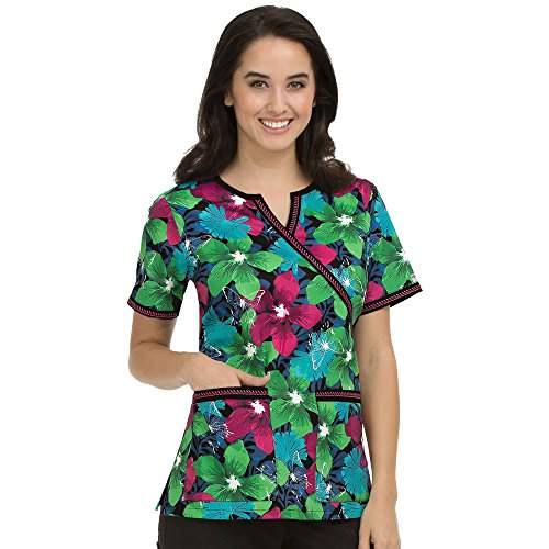 Med Couture Women's Chrissy Butterfly Print Scrub Top Small Print (Tropic Top Lycra)