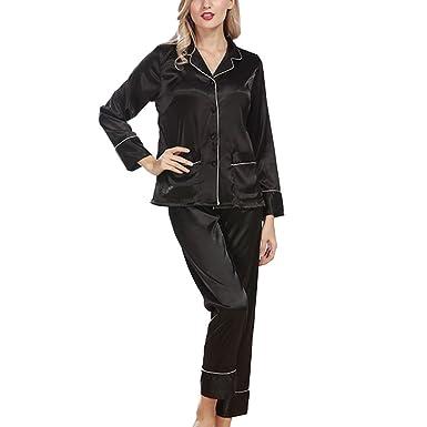 Xinvision Silk Long Sleeve Pyjamas Set Sleepwear Nightwear Loungewear for Women