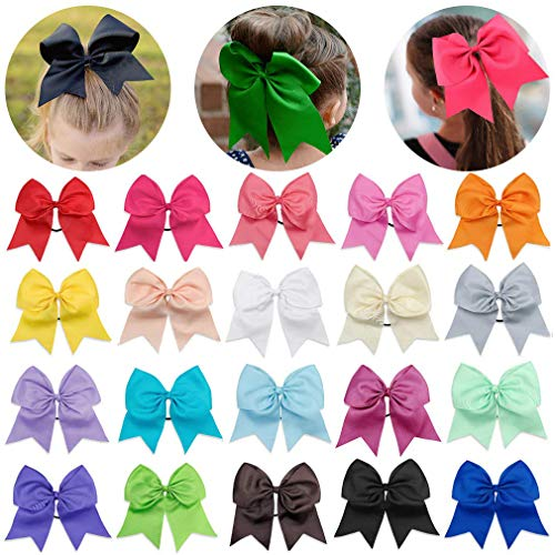 20 Pcs Large Cheer Bows 8 Bulk Hair Bow Accessories with Ponytail Holder for Girls High School College Cheerleading