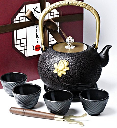 Japanese Iron Tea Set 8 Pieces - Teapot (1,2L - 40,57Oz) + Lid + 4 Iron Cups + Trivet + Wood Lid Holder - Gift Box - 100% Hand Made - American FDA Approved (Beauty) by KIYOSHI Luxury