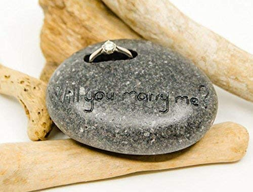 (Engagement Ring Holder, Personalized Pebble, Penguin pebble stone, Penguin keepsake, Penguin rock decoration, Personalized love gift, Unique love gift, Love promise, engagement gift, wedding gift)