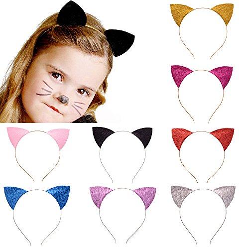 Elesa Miracle Kids Girl Women Glitter Cat Ear Headband Value Set Cat Ear Hair Hoops Makeup Party Favor (8pc Value Set)
