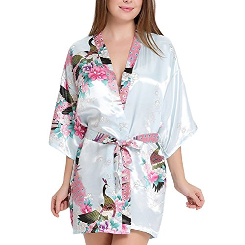 Accappatoio Donna da Vestaglia donna notte Azzurro maniche Oudan Camicia 4 3 Kimono xzUwzqBIv