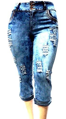 Blue Denim Capri Pants - 2