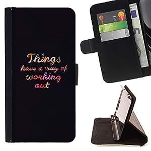 For Sony Xperia Z1 Compact / Z1 Mini (Not Z1) D5503 Case , Work Out motivación Autoayuda texto- la tarjeta de Crédito Slots PU Funda de cuero Monedero caso cubierta de piel