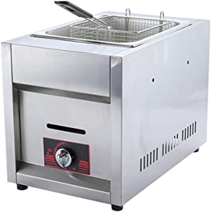 ANGELA 10L Commercial Stainless Steel Single Cylinder Electric Fryer, 220-Volt Countertop Compact Desgin, Perfect Snack Equipment, for Restaurant Use