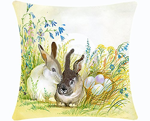 Queen's designer Happy Easter Watercolor Smile Rabbit Bunny Couple Sweetheart Color Eggs Flowers Cotton Linen Decorative Throw Pillow Case Cushion Cover Square 18