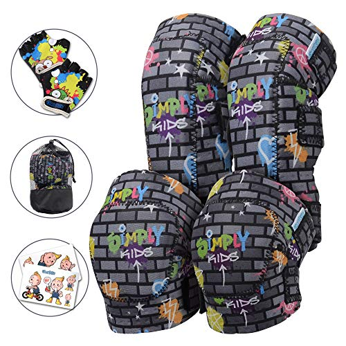 Innovative Soft Kids Knee and Elbow Pads with Bike Gloves | Toddler Protective Gear Set w/Mesh Bag | Roller-Skating, Skateboard, Bike for Children Boys Girls (Graffiti Black Wall, Large (8-11 Years))
