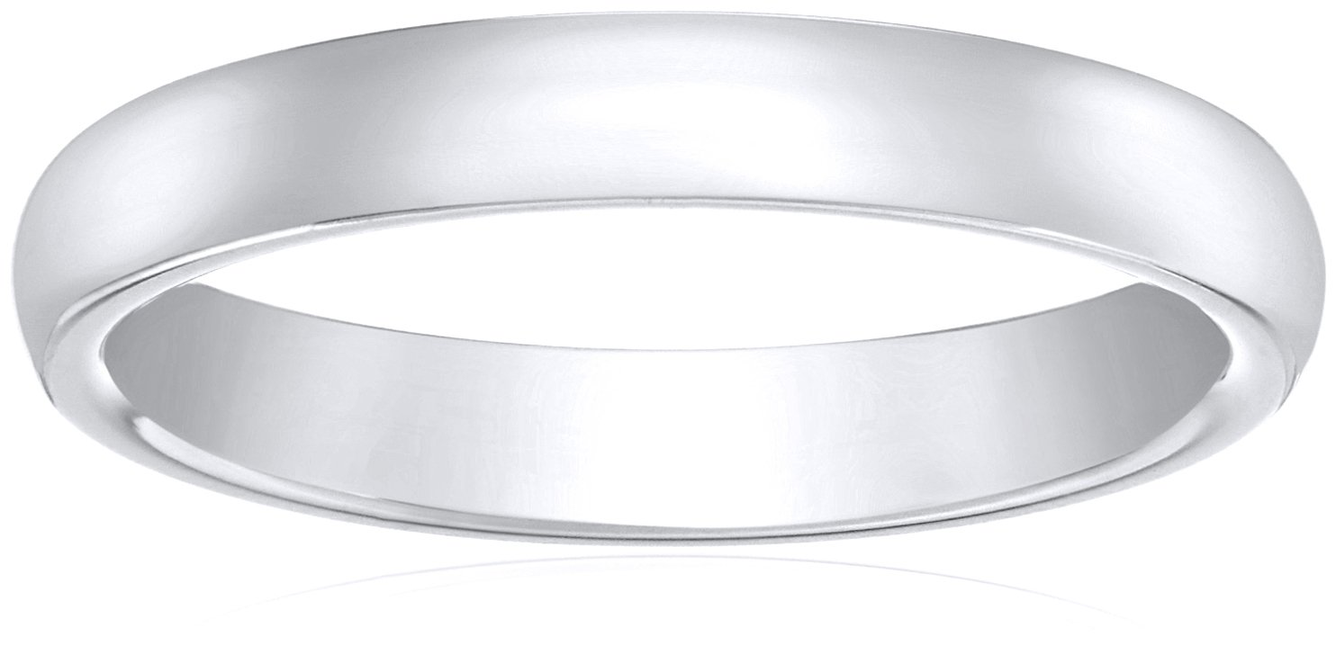 Standard Comfort-Fit 10K White Gold Band, 5mm, Size 9.5