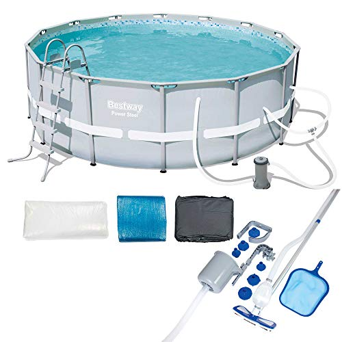 Bestway 14ft x 48in Power Steel Frame Above Ground Round Pool Set & Accessories