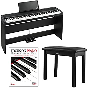 Korg B1SP 88 Weighted Key Digital Piano w/ Stand Three Pedal Board and Knox Bench