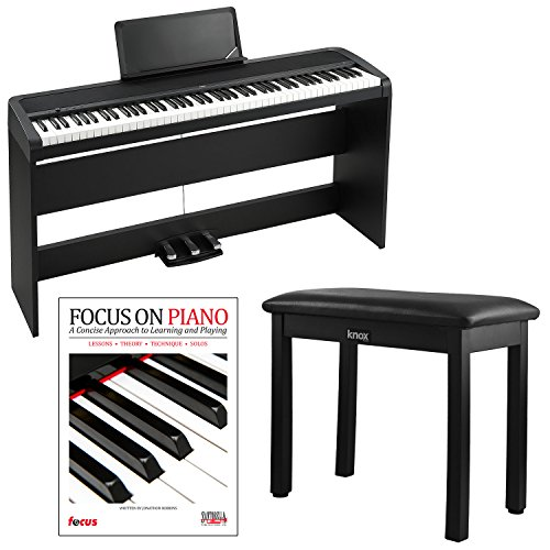 Korg B1SP 88 Weighted Key Digital Piano w/ Stand Three Pedal Board and Knox Bench - Weighted Keys Piano