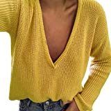 BeautyVan—Winter Clearance ! Sweater for Women Women Casual V Neck Knitted Sweater Jumper Tops Long Sleeve Pullover Tops