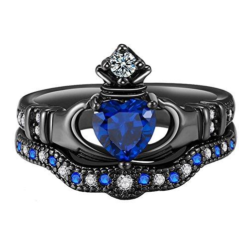 (UOKOHO 2PCS Blue Sapphire Heart Cut Black Gold Bridal Crown Irish Claddagh Rings Sets Size 9)