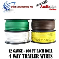 Trailer Wire Light Cable for Harness 4 Way Cord 12 Gauge - 100ft roll - 4 Rolls