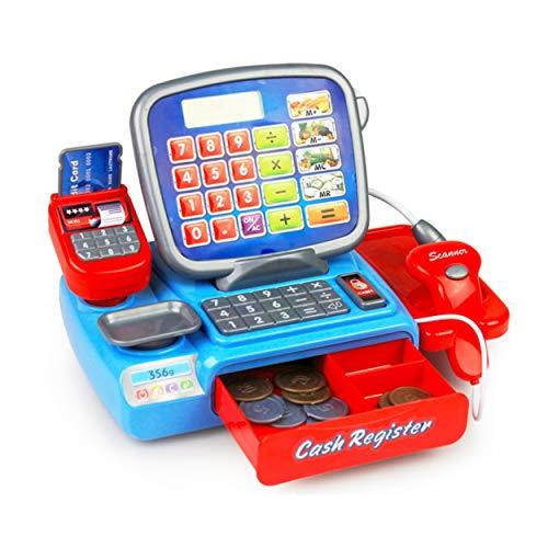 CNluca Los niños los Juguetes electrónicos de la calculadora de la Caja registradora con Las Monedas fingen el cajero Que...