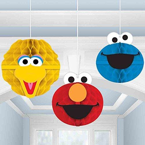 Sesame Street Party Hanging Honeycomb Decor Big Bird, Elmo and Cookie Monster(3pk)