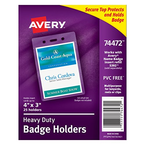 Avery Heavy-Duty Badge Holders for Inserts up to - Avery Name Badge Inserts 5392