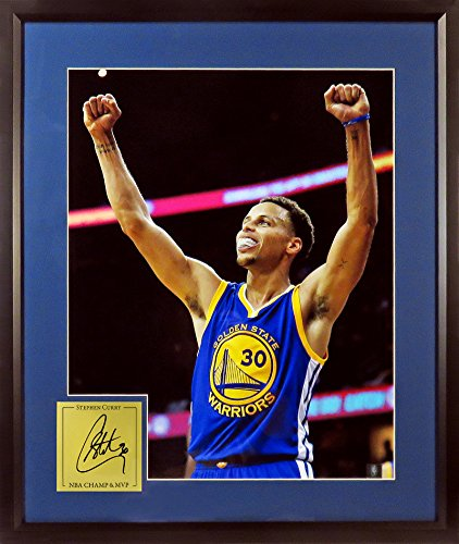 "GS Warriors Stephen Curry ""Champion!"" 11x14 Photograph (SGA CHAMP & MVP Signature Series) Framed"