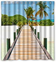 Luxury Gifts Ocean Theme Summer Beach Palm Tree Shower Curtain