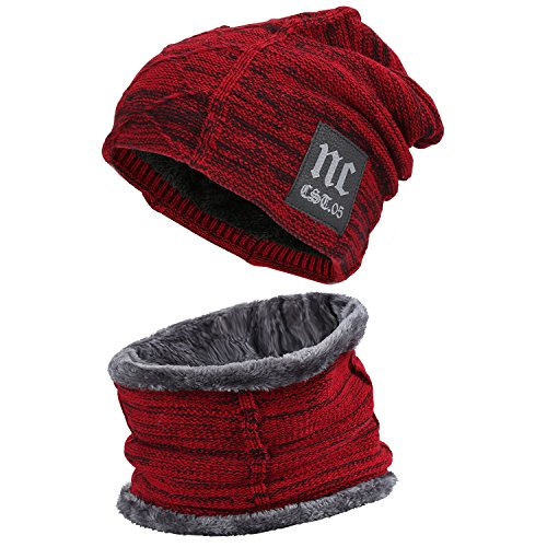 Fantastic Zone 2-Pieces Winter Beanie Hat Scarf Set Warm Knit Hat Thick Fleece Lined Winter Hat & Scarf For Men Women Warm Fleece Hat