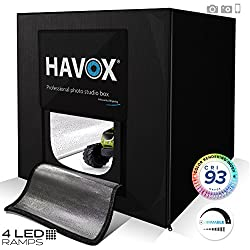 "HAVOX - Photo Studio HPB-80XD - Dimension 32'x32'x32' - Dimmable LED Lighting""Daylight"" 5500k - 26,000 lumens - CRI 93 - Make your commercial photos e-commerce"