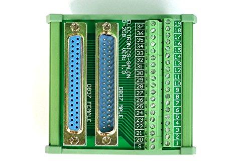 Electronics-Salon DB37 D-SUB DIN Rail Mount Interface Module, Male / Female, DSUB Breakout Board.
