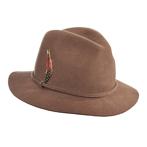 Scala Women's Felt Safari Hat with Feather Trim, Pecan, One Size