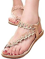 Bohemia Sweet Sandals,Clearance! AgrinTol Women's Fashion Sweet Summer Bohemia Sweet Beaded Clip Toe Sandals Beach Shoes (8, Khaki)