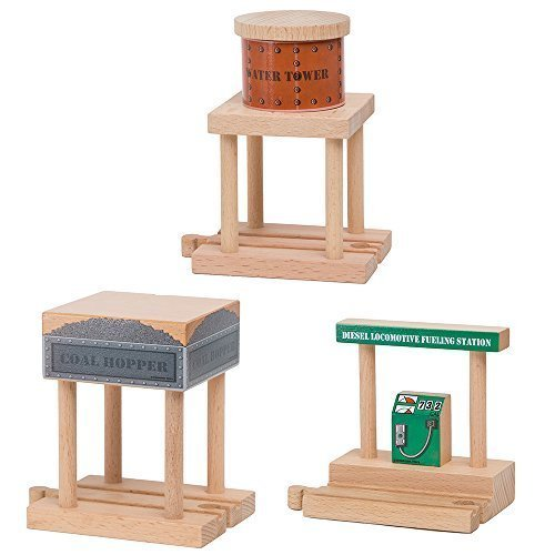 Orbrium Water Tower, Coal Hopper, Diesel Fuel Station Combo Pack for Wooden Railway Fits Thomas Wooden, Chuggington, Brio Toys (Wooden Railway Water Tower)