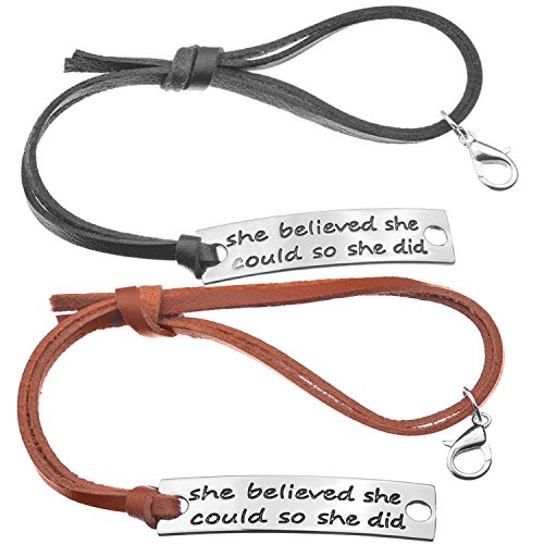 2pc womens inspirational quote leather bracelet engraved