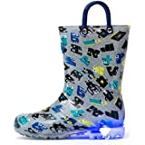 Outee Kids Toddler Boys Rain Boots Printed Waterproof Shoes Light Up Lightweight Cute Colorful Robot with Easy-On Handles and Insole (Size 12,Gray)