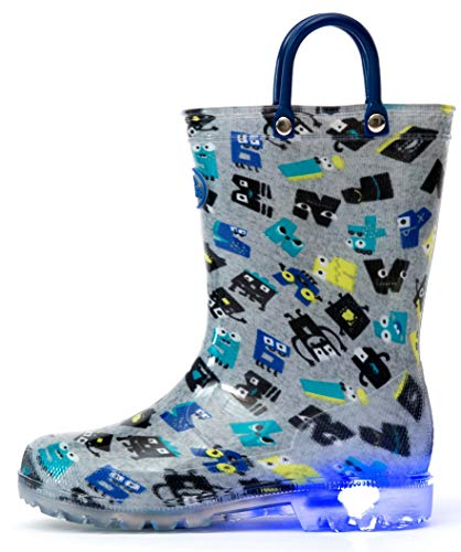 - Outee Boys Kids Toddler Rain Boots Light Up Printed Waterproof Shoes Lightweight Cute Colorful Robot with Easy-On Handles and Insole (Size 1,Gray)