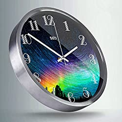 12-Inch Non-Ticking Silent Wall Clock With Modern and Nice Design For Living Room Large Kitchen, Metal Frame Round Wall Clock Battery Operated (Colorful Sky, Silver)