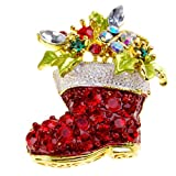 1 X Christmas Gift Lovely Sparkling Christmas Boot Brooch