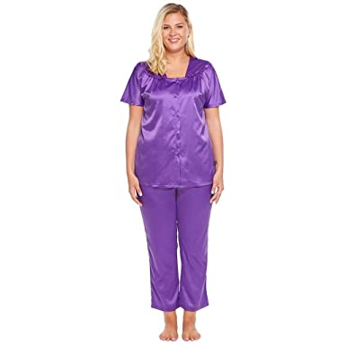 Image Unavailable. Image not available for. Color  Women Short Sleeve  Button Front Tops   Pants Satin Pajama ... cb440554c