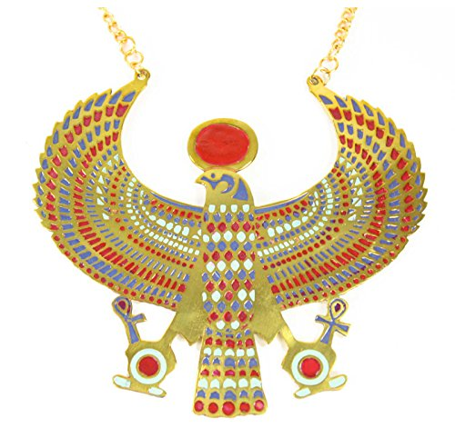 [Winged Horus Necklace Costume Accessory (Gold)] (Roman Goddess Accessories)