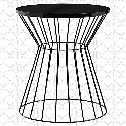 Elle Decor Lulu Round Hourglass Metal Side Table