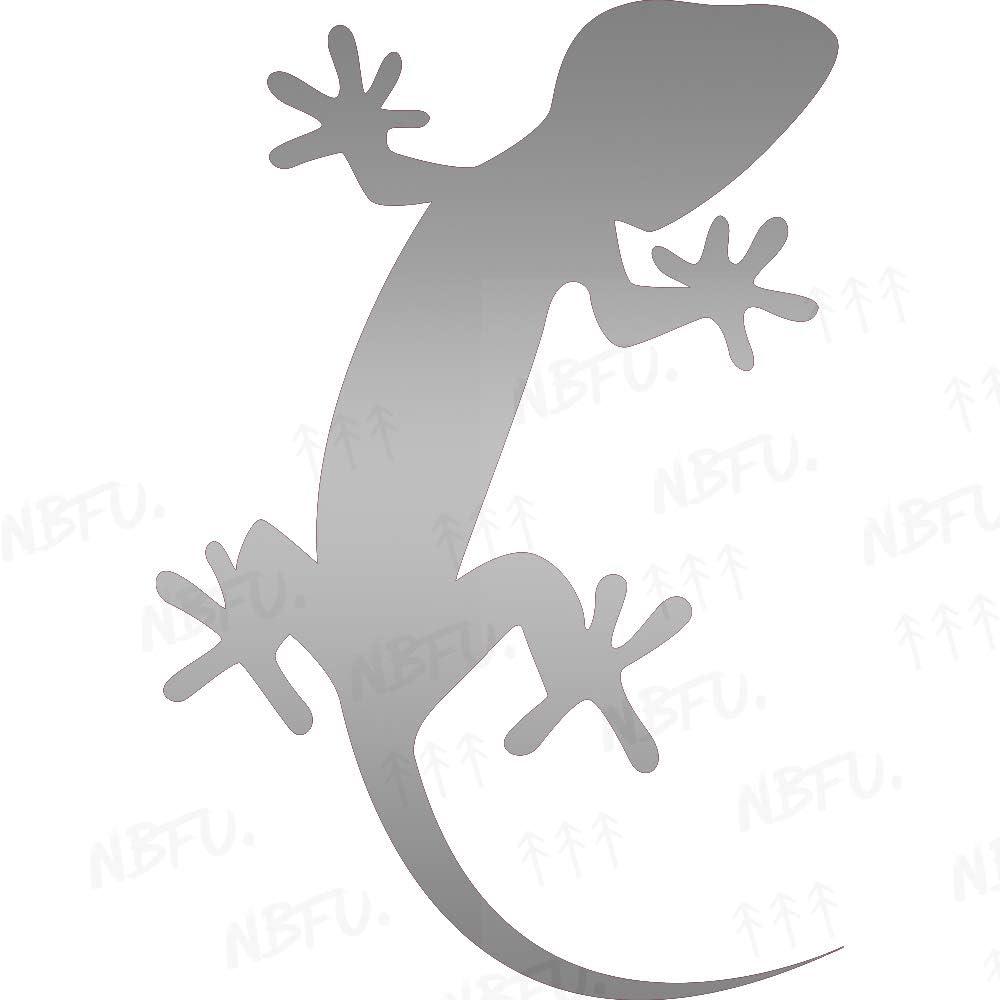 NBFU Decals Gecko Lizard Animal (Metallic Silver) (Set of 2) Premium Waterproof Vinyl Decal Stickers for Laptop Phone Accessory Helmet Car Window Bumper Mug Tuber Cup Door Wall Decoration