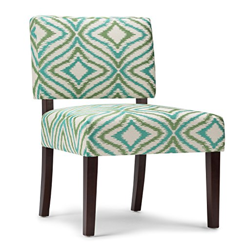 Simpli Home Virginia Accent Chair, Green Patterned
