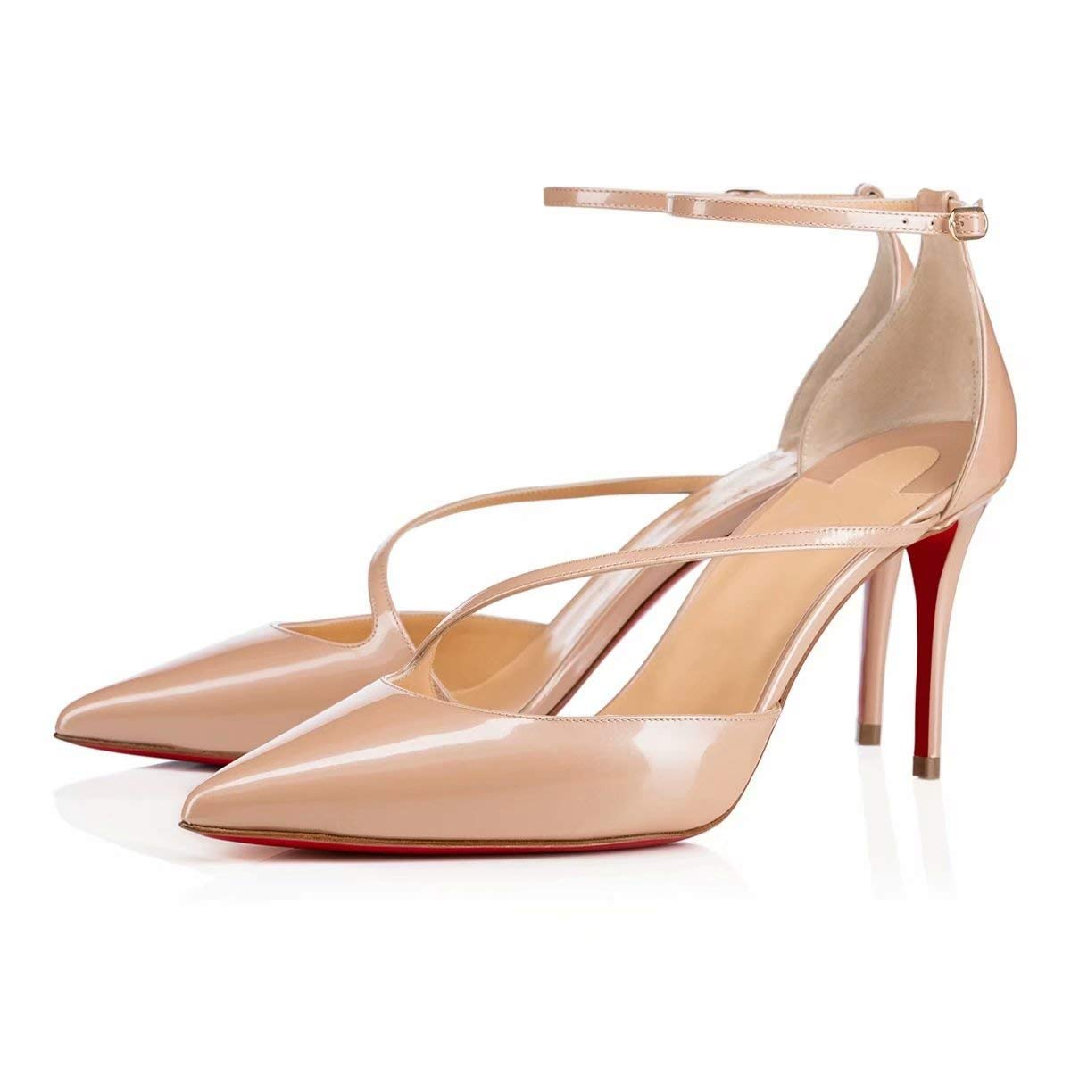 Chris-T Femmes Mode Peep Toe Sangle avec EU des Talons Stiletto Hauts Stiletto Robe De Pompes Taille 35-45 EU Sangle Nude-8.5cm-red S0le f4e880c - piero.space