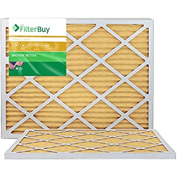 FilterBuy 24x30x1 MERV 11 Pleated AC Furnace Air Filter, (Pack of 2 Filters), 24x30x1 - Gold