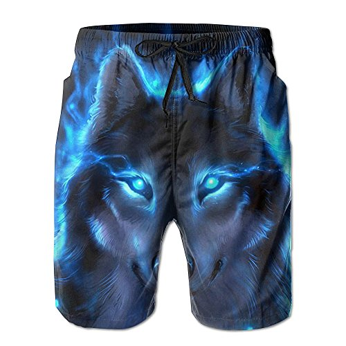 Blue Flaming Wolf Men's Swim Trunks Quick Dry Bathing Suits Summer Casual Surfing Board Shorts