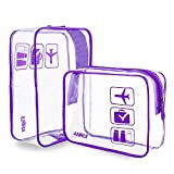 (2 Pack) Anrui Clear Toiletry Bag TSA Approved Travel Carry On Airport Airline Compliant Bag Quart Sized 3-1-1 Kit Travel Luggage Pouch (Purple)