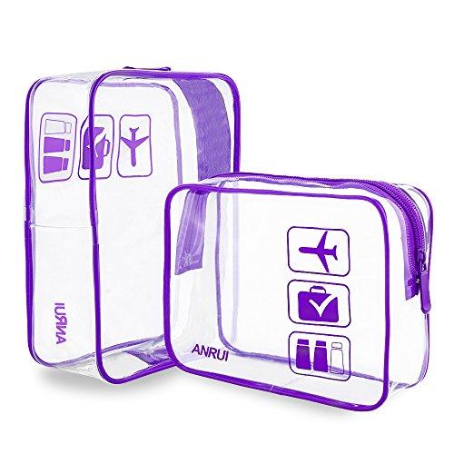 Anrui TSA Approved Toiletry Bag Clear Travel Carry-On Compliant Organizer For Women Men Kids (2pcs/Pack) (1 Quart Plastic Bag)