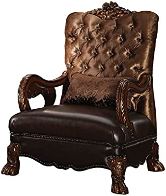 Awesome Amazon Com Acme Dresden Golden Brown Velvet Chair With 1 Machost Co Dining Chair Design Ideas Machostcouk