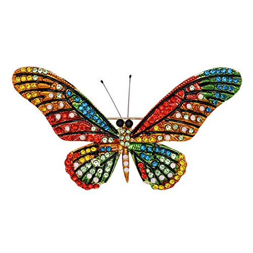 Rosemarie Collections Women's Stunning Multicolored Crystal Oversize Butterfly Brooch Pin