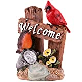 Hannah's Cottage Welcome Sign Garden Bird Statue with Solar Light,Polyresin Outdoor Figurine for Outdoor Decoration(outdoor paradise)